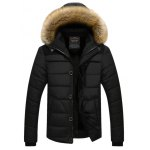 Buy Faux Fur Collar Hooded Plus Size Zip Thicken Quilted Jacket 2XL