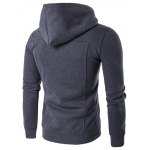 cheap Buttoned Pleat Zip Up Hoodie