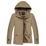 Detachable Hooded Thicken Zip Up Flocking Jacket