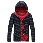 Plus Size Detachable Hooded Zip Up Down Jacket