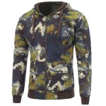 Printed Pocket Zip Up Quilted Hoodie