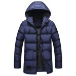 Zip Up Patch Design Hooded Padded Coat