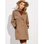 cheap Button Up Drawstring Trench Coat