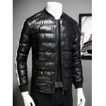 cheap Stand Collar Striped Selvedge Embellished Zip Up Down Jacket