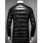 Stand Collar Striped Selvedge Embellished Zip Up Down Jacket deal