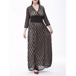 Plus Size Formal Lace Maxi Dress with Sleeves deal
