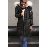 Patched Hooded Down Coat