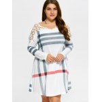 Plus Size Casual Lacework Splicing Stripes Swing Dress for sale