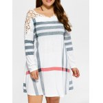 Plus Size Lacework Splicing Stripes Swing Dress
