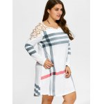 Plus Size Casual Lacework Splicing Stripes Swing Dress deal