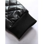 Stand Collar Argyle Zip Up PU Leather Jacket for sale