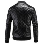 cheap Stand Collar Argyle Zip Up PU Leather Jacket
