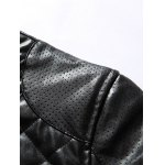 Stand Collar Argyle Zip Up PU Leather Jacket deal