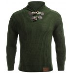 cheap Flat Knitted Pullover Toggle Sweater