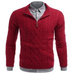 cheap Stand Collar Cable Knit Half Zip Sweater
