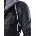 Faux Twinset Hooded Double Zipper PU Leather Jacket deal
