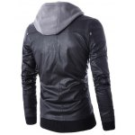 cheap Faux Twinset Hooded Double Zipper PU Leather Jacket