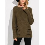 Crew Neck Ripped Sweater