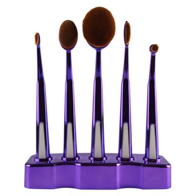 5 Pcs Nylon Oval Toothbrush Makeup Brushes Set with Brush Stand