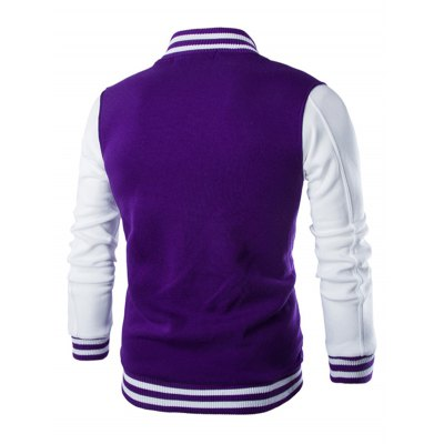 Stand Collar Striped Color Block Baseball Jacket