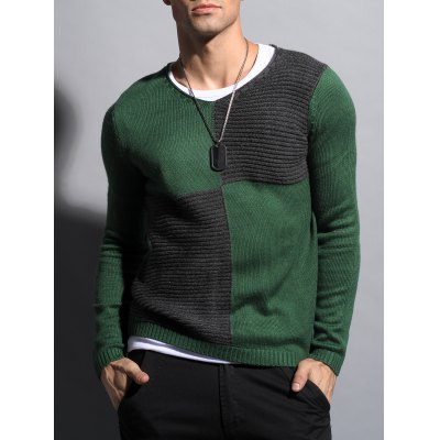 Ribbed V Neck Two Tone Sweater