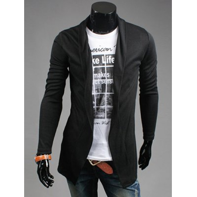 Slim Fit Shawl Collar Open Front Cardigan