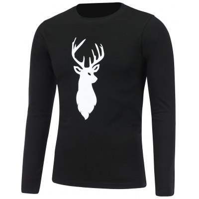 Print Crew Neck Christmas T-Shirt