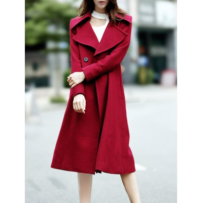 Double Breasted Wool Blend Lapel Collar Coat