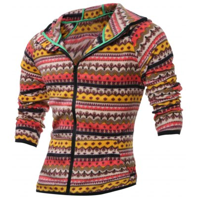 Zip Up Tribal Printed Hoodie