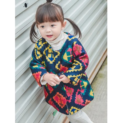 Arrow Geometric Print Quilted Coat
