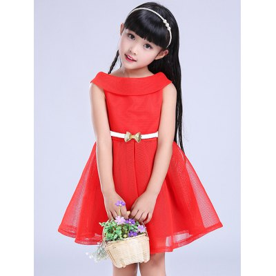 Girls Belt Mini Flare DressGirls Clothing<br>Girls Belt Mini Flare Dress<br><br>Style: Cute<br>Material: Polyester<br>Silhouette: A-Line<br>Dresses Length: Mini<br>Neckline: Round Collar<br>Sleeve Length: Sleeveless<br>Pattern Type: Solid<br>With Belt: Yes<br>Season: Summer<br>Weight: 0.274kg<br>Package Contents: 1 x Dress   1 x Belt