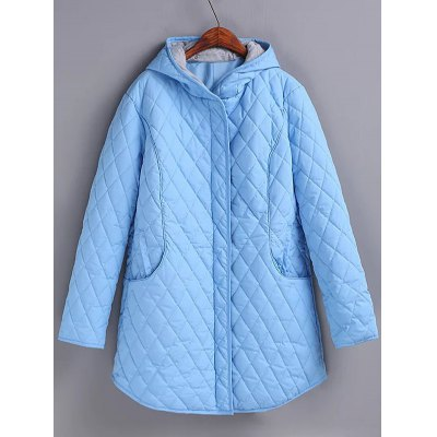 Grid Hooded Puffer Coat