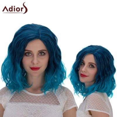 Adiors Medium Ombre Shaggy Curly Side Parting Cosplay Synthetic Wig