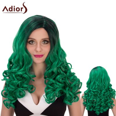 Adiors Long Ombre Fluffy Wavy Side Parting Cosplay Synthetic Wig