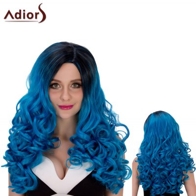 Adiors Long Ombre Wavy Oblique Parting Cosplay Synthetic Wig