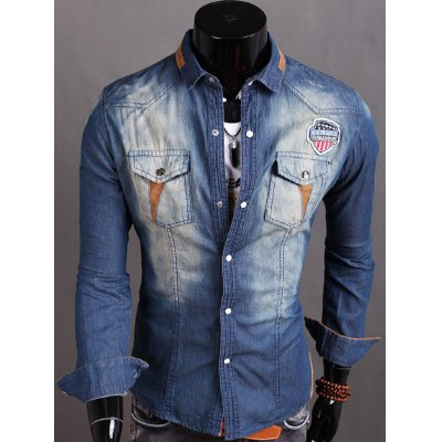 Long Sleeve Patch Design Suede Panel Denim Shirt