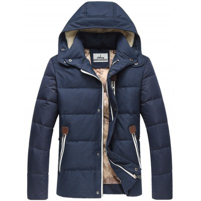 Zip Pocket Elbow Patch Flocking Hooded Down Jacket