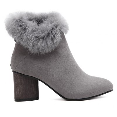 Faux Fur Zipper Pointed Toe Ankle Boots