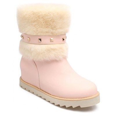 Studded Faux Fur Snow Boots