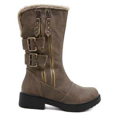 Double Buckle Platform Mid Calf Boots