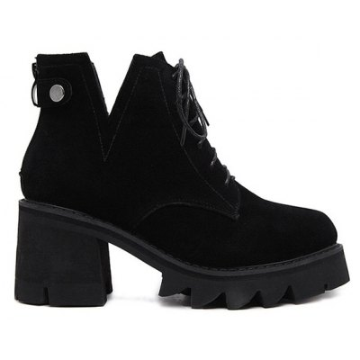 Suede Slit Chunky Heel Boots