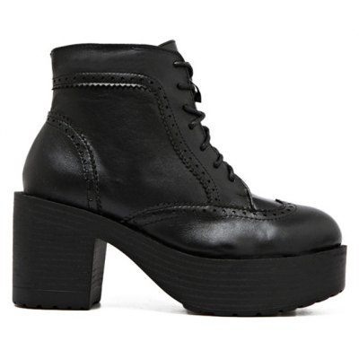 Vintage Chunky Heel Engraving Ankle Boots