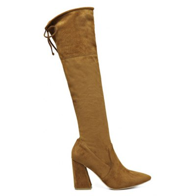 Chunky Heel Knee High Boots