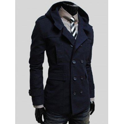 Double Breasted Flap Pocket Hooded Jacket