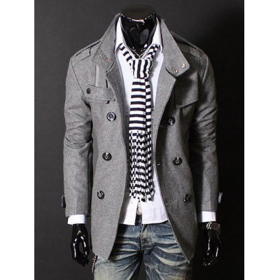 Epaulet Zipper Design Double Breasted Wool Blends Coat