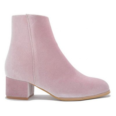 Chunky Heel Round Toe Zip Ankle Boots