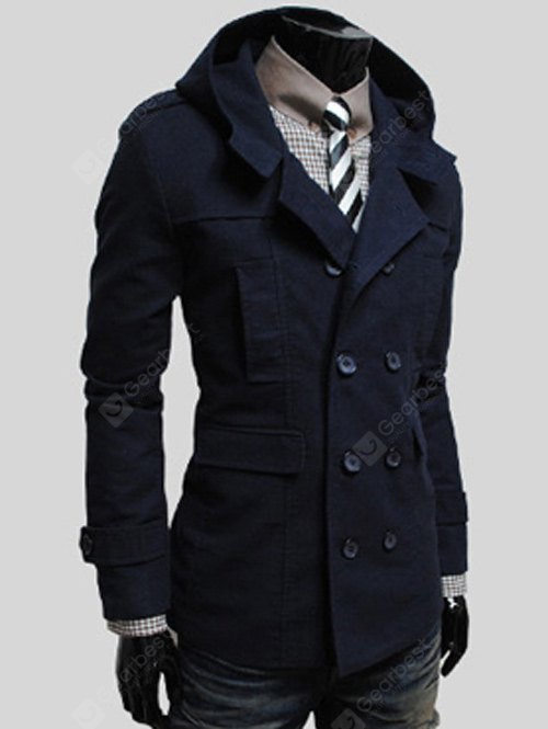 Double Breasted Flap Pocket Hooded Jacket L