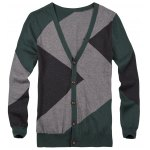 best V Neck Color Matching Button Up Cardigan