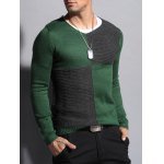 cheap Ribbed V Neck Two Tone Sweater