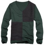 Ribbed V Neck Two Tone Sweater for sale